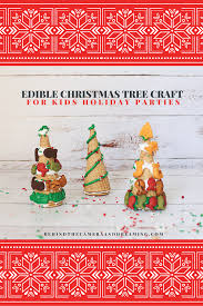 edible christmas tree craft with goldfish crackers behind the