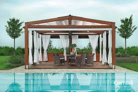 Steel Pergola With Canopy by Steel Pergola With Canopy With White Curtain And Chair Also Table