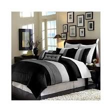 king bedding set duvet cover black white grey blanket stripe