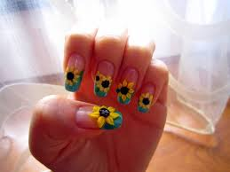 3d sunflower nail art design