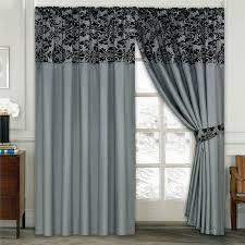 luxury damask curtains pair of half flock pencil pleat window
