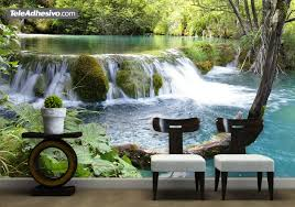 river with waterfall br wall murals vegetation and river and waterfall