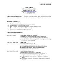 Summer Job Resume Template by Retail Objective For Resume Example Resume For Retail Sample