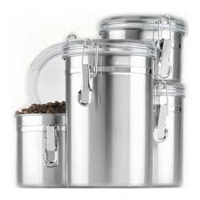 stainless steel canisters kitchen anchor hocking 4pc stainless steel canister set w clear lid