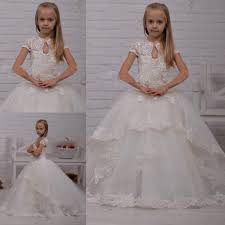 lace pearls ball gown tulle short sleeves baby birthday party