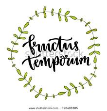 latin phrase fructus temporum fruit time stock vector 398406385