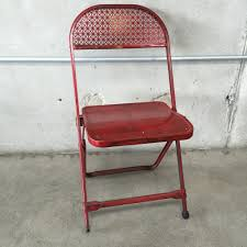 Red Metal Chair Vintage Red Metal Folding Card Table And 4 Chairs U2013 Urbanamericana