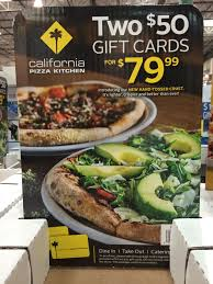 california pizza kitchen gift cards at costco 2 x 50 cards for