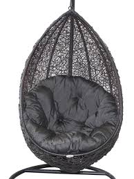 hanging egg chair black wicker egg chair charcoal cushion