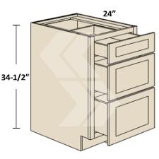 3db33 shaker rta maple white drawer base cabinet 3 drawer