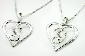 diamond initial heart necklace groupon goods