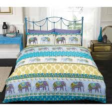 indian elephant duvet cover set with paisley motifs in purple blue