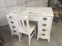 before and after vintage desk vanity for a little hometalk