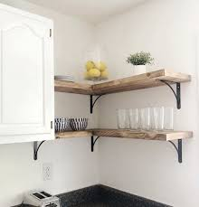 oak corner kitchen wall cabinet 9 1 4 farmhouse rustic corner floating shelf