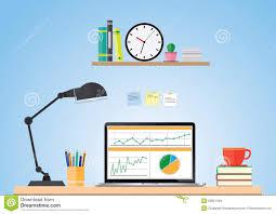 Business Computer Desk Computer Desk Workplace Business Concept Vector Stock