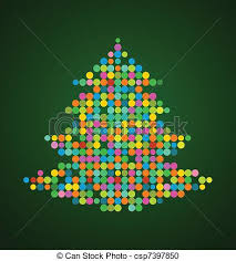 vector clipart of xmas background with pixel christmas tree