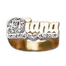 name ring 14k gold large script name ring w 10 diamonds personalized