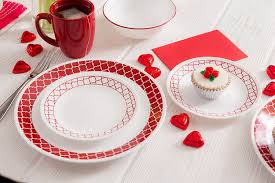 corelle livingware 74 piece crimson trellis dinnerware set with