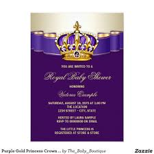 royal princess baby shower theme purple gold princess crown baby shower card purple gold