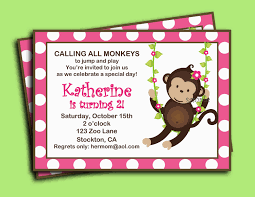 monkey invitation printable or printed with free