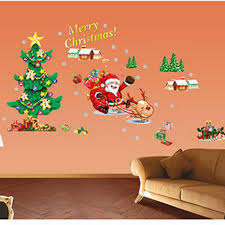 amazon com santa claus christmas tree merry christmas wall amazon com santa claus christmas tree merry christmas wall stickers diy mural art decal self adhesive removable pvc wall paper decor 19 7 inch 27 6 inch