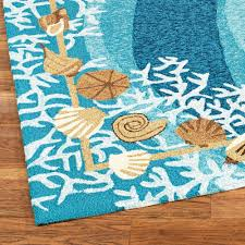 White Rug Runner Shells And White Coral Coastal Indoor Outdoor Rugs