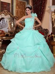 aqua quince dresses shoulder aqua blue organza quinceanera dress