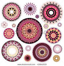 set various artistic circled ornaments diwali stock vector