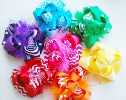 boutique hair bows set of 7 funky bright loopy hair bows girly