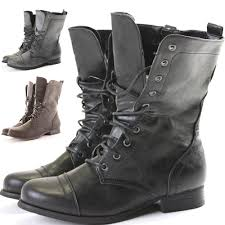 women s lace up biker boots womens combat style army worker military ankle boots flat punk