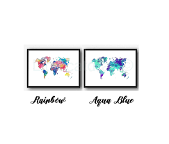 Watercolor Map Of The World by World Map Print World Map Poster Watercolor Art Print Wall Art Map