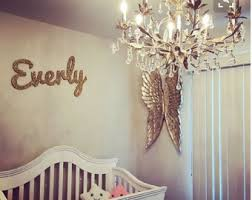 wooden name wall glittered gold nursery name nursery decor
