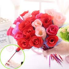 Valentine S Day Flower Decor by Aliexpress Com Buy Rose Ballpoint Pen New Creative Flower