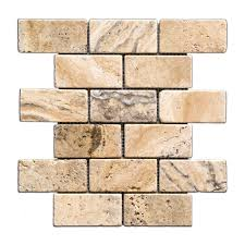 Kitchen Backsplash Samples by Philadelphia 2 X 4 Tumbled Travertine Brick Mosaic Tile 6 X 6
