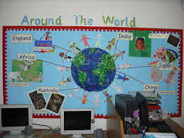 World Map Bulletin Board by Round The World Topic Ks1 Contemporary World Issues Special