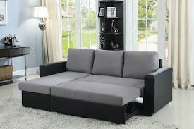 Reclining Sofa With Chaise Lounge by Everly Grey Fabric U0026 Black Leatherette Sofa Sectional W Pull Out Bed