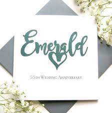 55th wedding anniversary emerald 55th wedding anniversary card by the hummingbird card