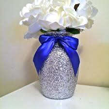 blue centerpieces royal blue wedding favors 5 silver glitter glass vases with blue