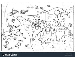 pigs coloring pages printable straw house stock