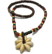 colored beaded necklace images Bunfires rasta cowrie shell flower pendant wood bead jpg