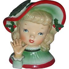 Napco Lady Head Vase Vintage Napco Christmas Lady Head Vase Planter From