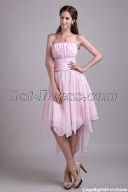 pale pink strapless graduation dress with high low hem 0897 1st