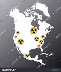 Map Of Nuclear Power Plants In The Usa by Map North America Showing Signs Radiation Stock Vector 86396575