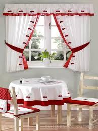 red u0026 white cherry embroidered kitchen curtain kitchen curtains