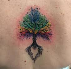 watercolor tree on back by revolt