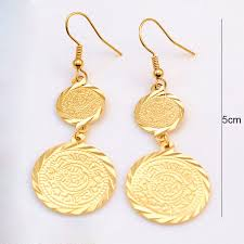 18k gold earrings 18k yellow gold plated muslim islamic earrings islam ancient