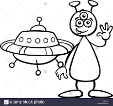black and white cartoon illustration of funny alien or martian