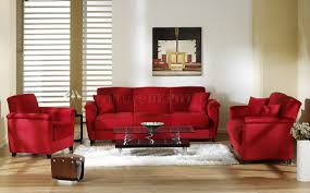 red microfiber fabric living room storage sleeper sofa