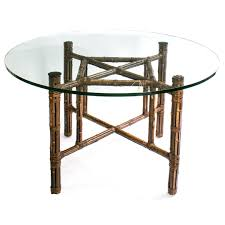 dining table mcguire bamboo base round glass top dining table