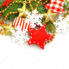 christmas background with green fir red star gold decorations